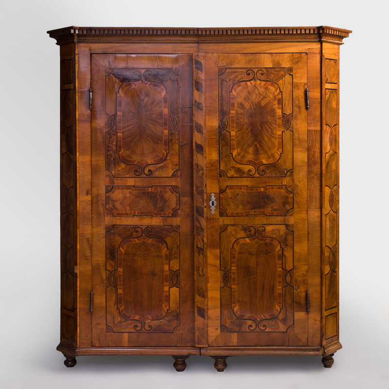 German Baroque Walnut and Fruitwood Parquetry Armoire