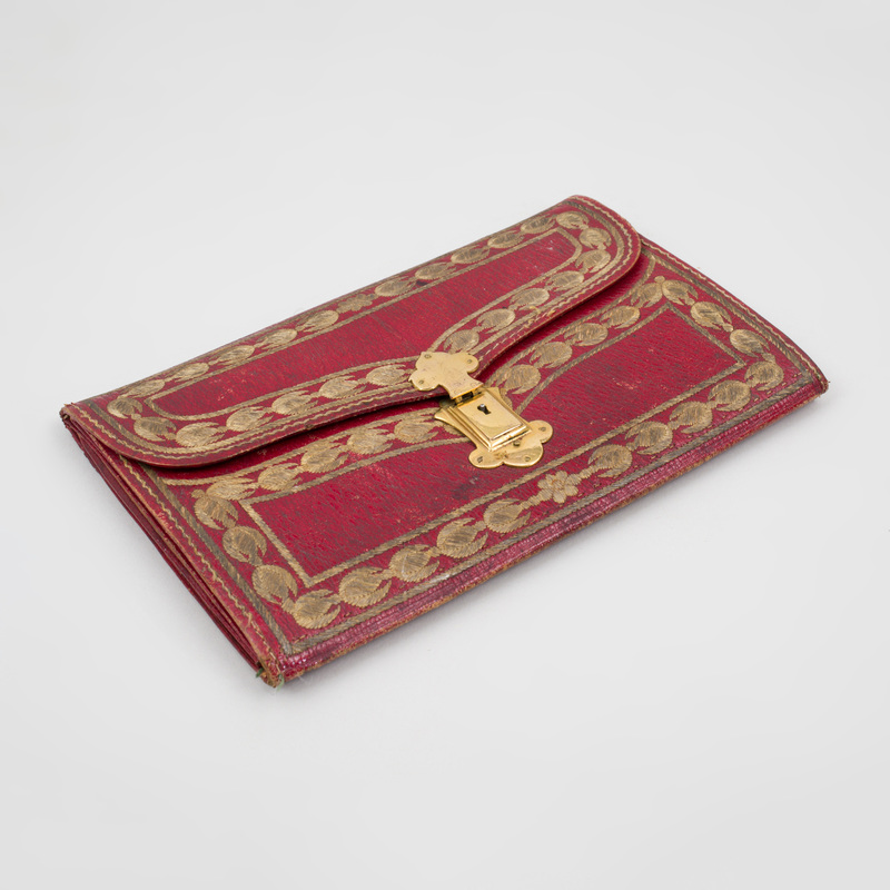 Turkish Gilt-Metal-Mounted and Embroidered Red Leather Clutch