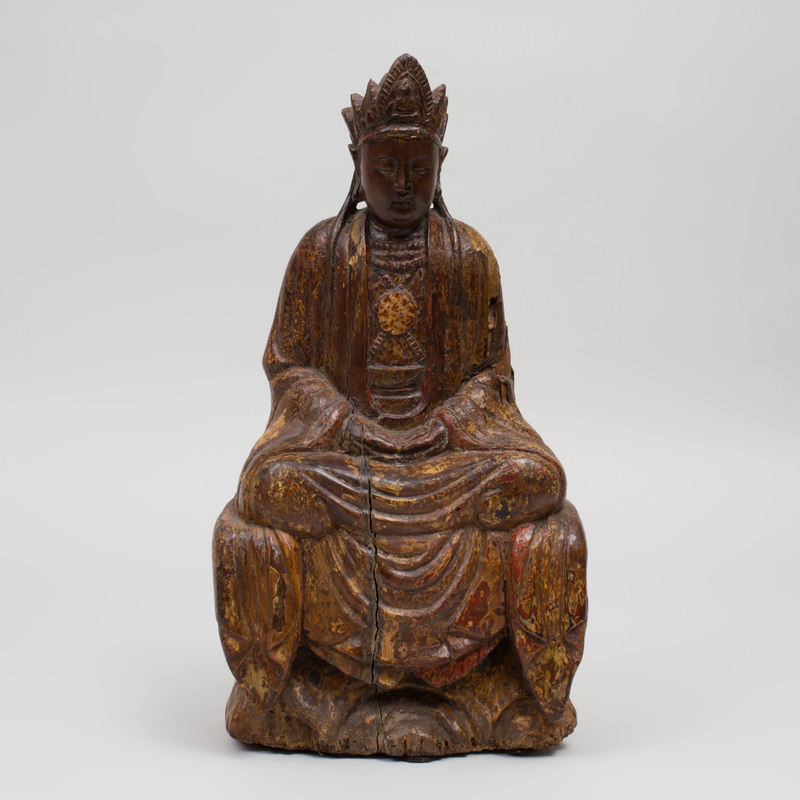 Chinese Carved Polychrome Seated Figure of Buddha
