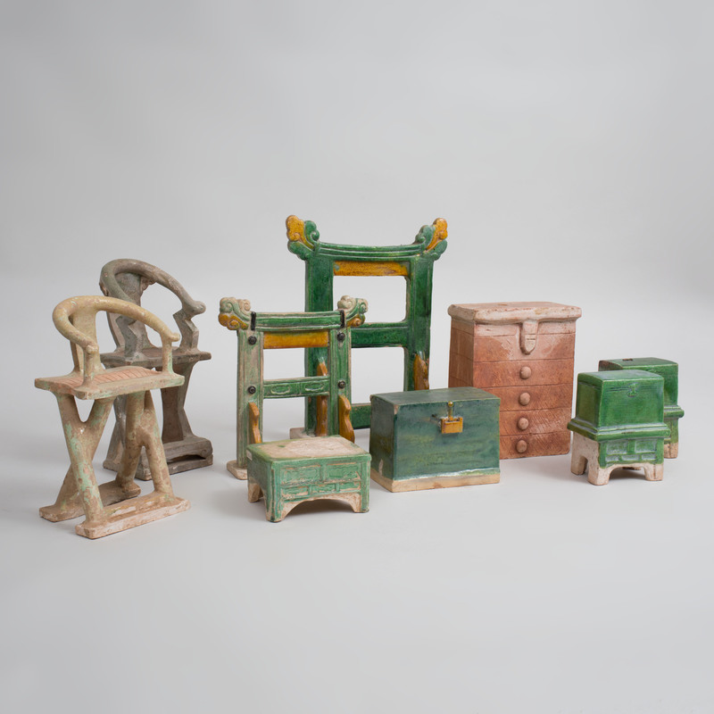 Group of Chinese Ming Style Green and Ocre Glazed Pottery Models of Furniture