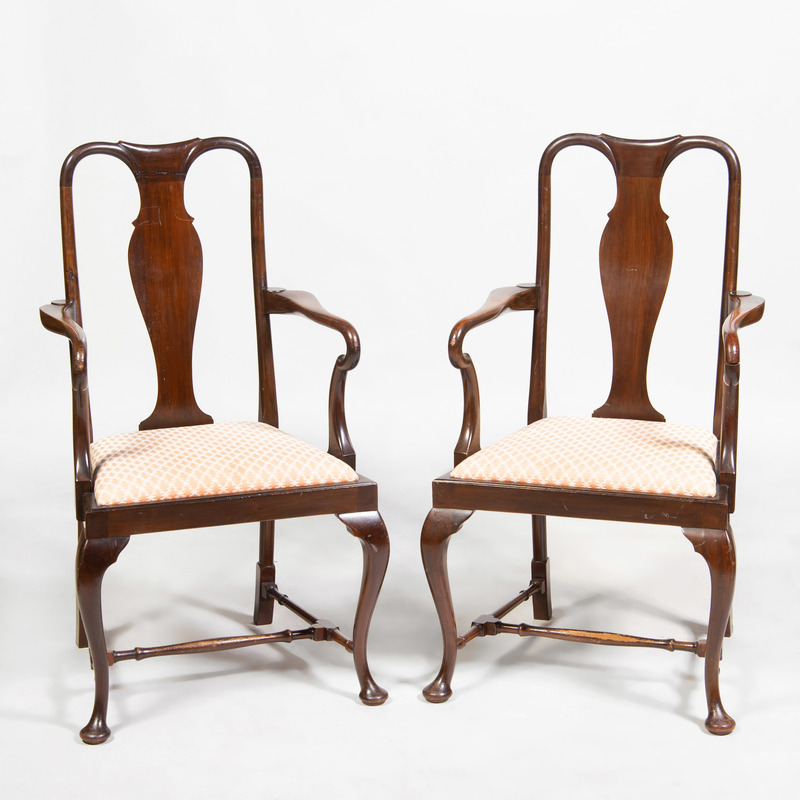 Pair of Queen Anne Style Mahogany Armchairs