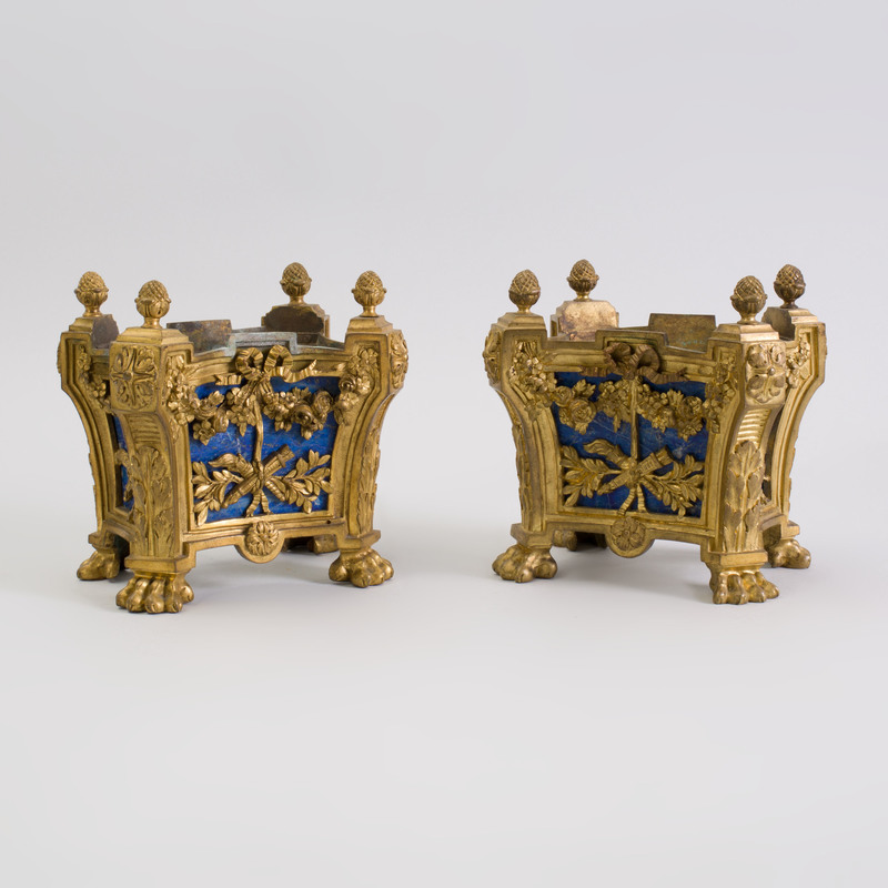 Fine Pair of Louis XVI Style Gilt-Bronze and Lapis Lazuli Jardinières