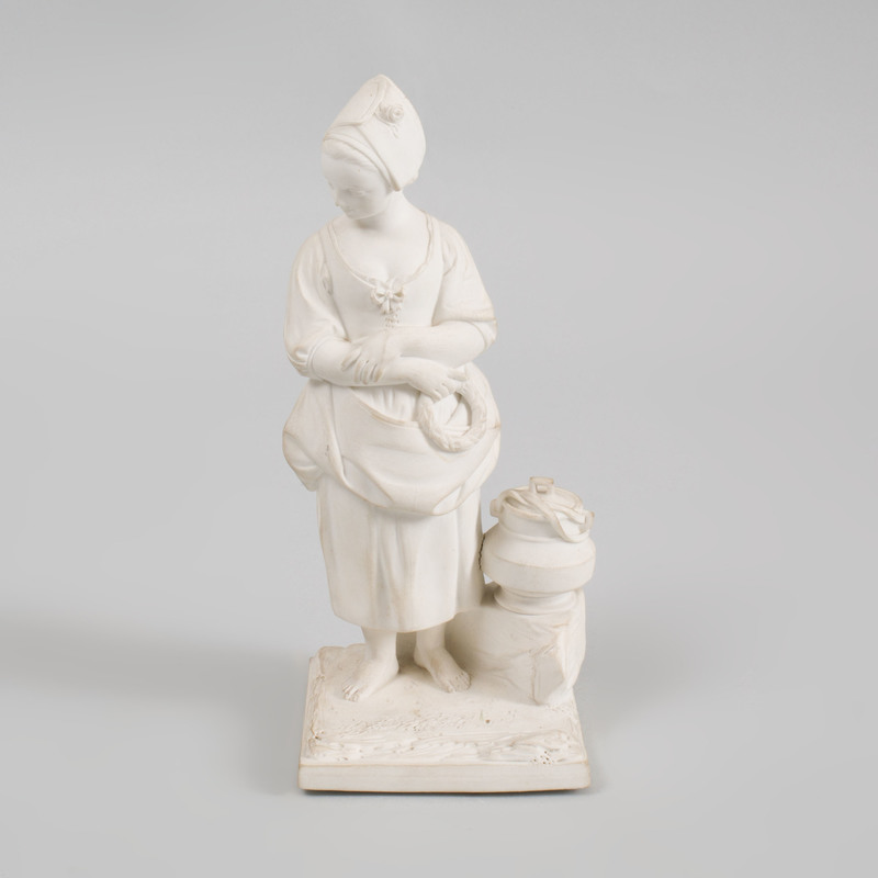 Luneville Biscuit Porcelain Figure of Girl, After a Model by Cyffle