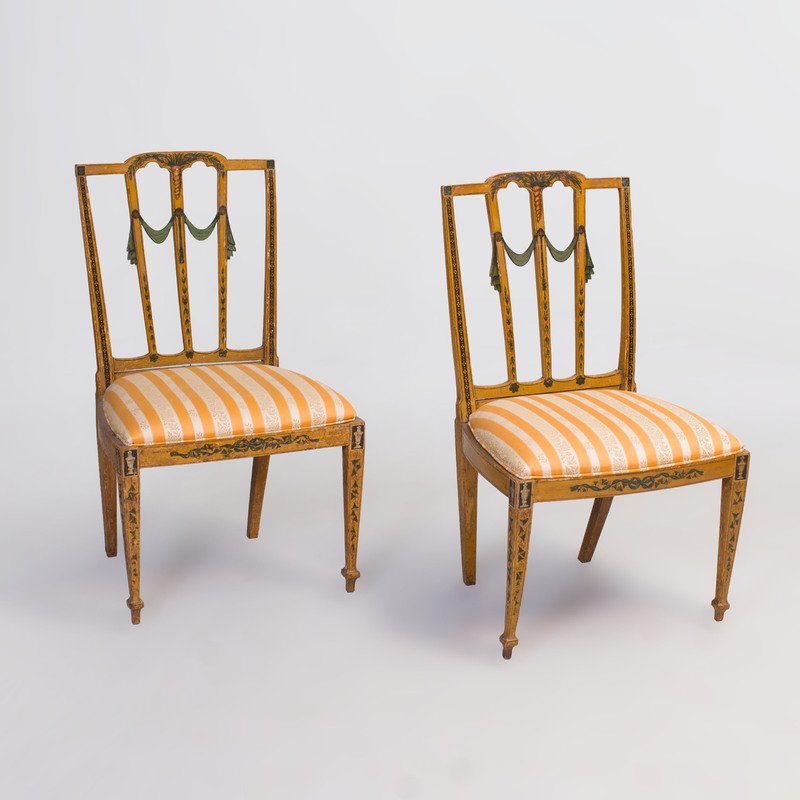 Pair of George III Painted Side Chairs