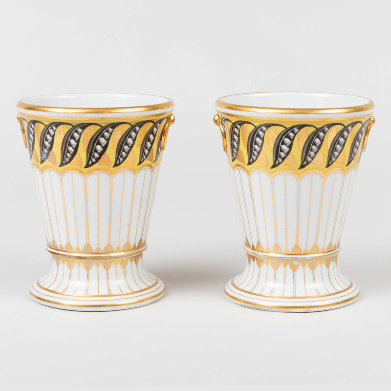 Pair of Flight & Barr Worcester Yellow Ground Porcelain Cachepots and Stands