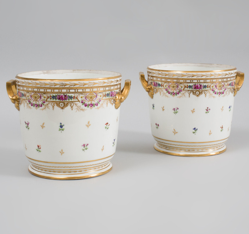 Pair of Paris Porcelain Two Handled Wine Coolers