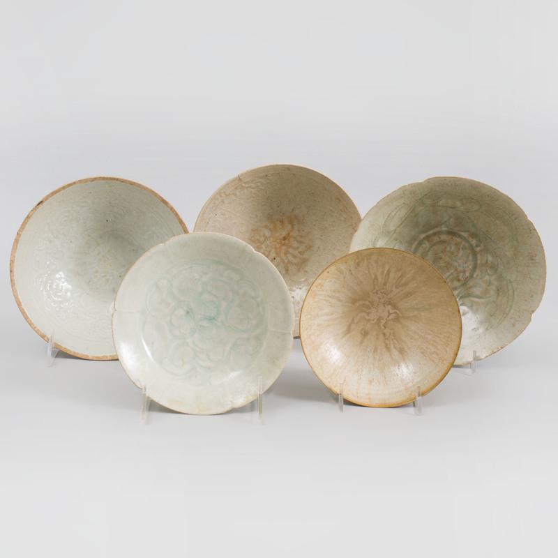 Four Chinese Qingbai Glazed Porcelain Wares
