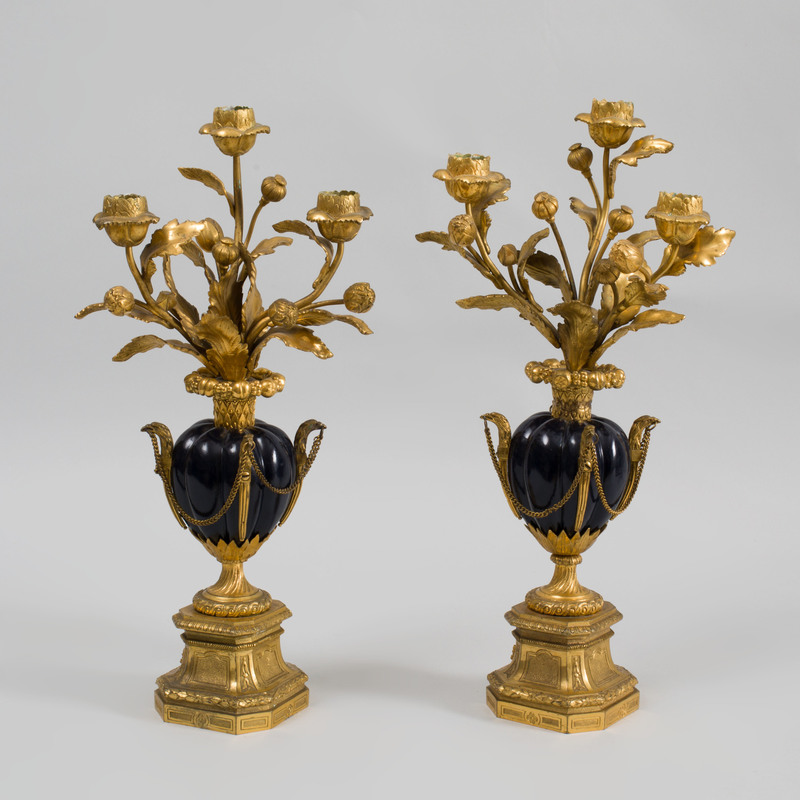Pair of Louis XVI Style Gilt and Patinated-Bronze Three-Branch Candelabra