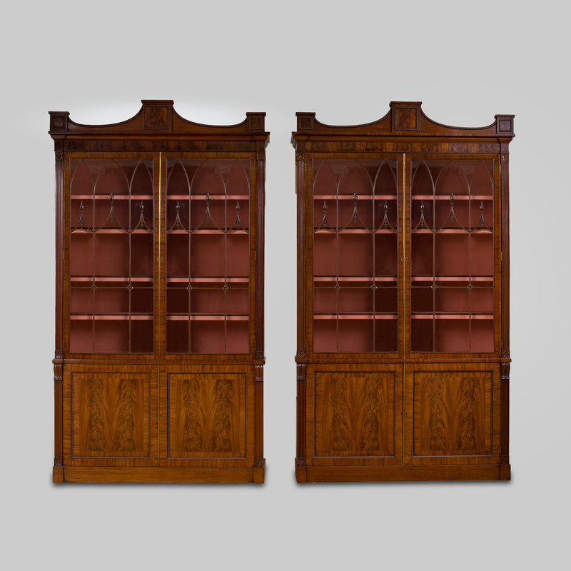 Near Pair of Regency Figured Mahogany Bookcases, possibly Irish, by Mack, Williams and Gipton