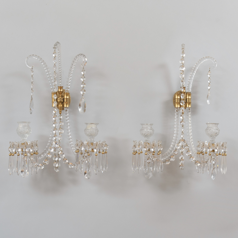 Pair of George III Style Cut Glass Twin Branch Wall Lights