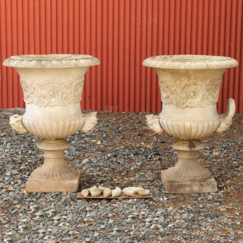 Pair of Cast Stone Campana Form Urns
