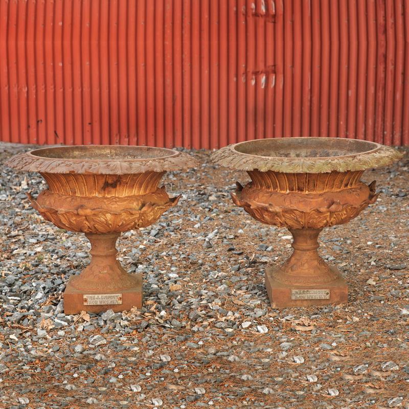 Pair of Cast-Iron Garden Urns