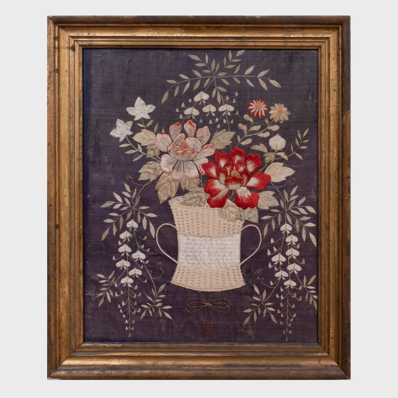 Silk Needlework of a Basket of Flowers, Possibly American