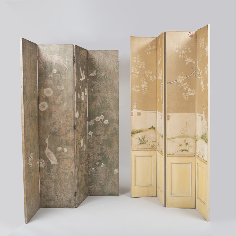 Two Polychrome Decorated Four-Panel Folding Screens