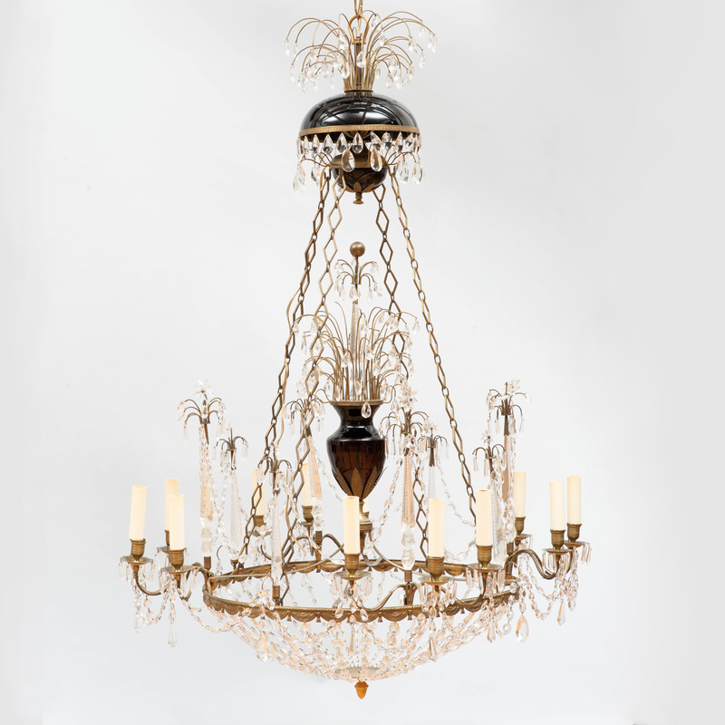 Large Continental Neoclassical Style Gilt-Metal-Mounted Glass Twelve Light Chandelier
