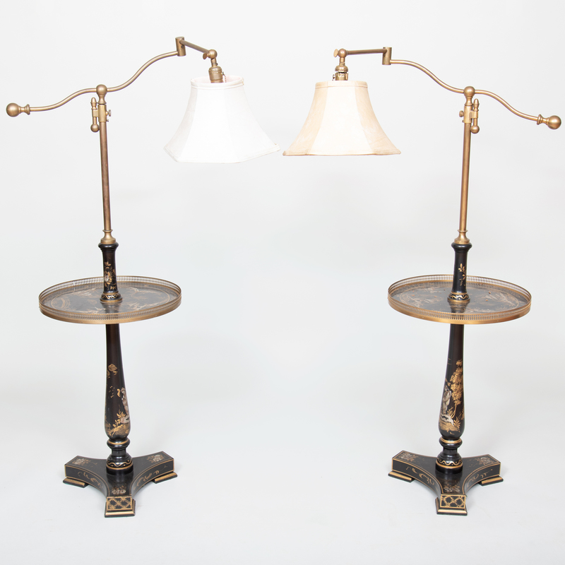 Pair of Brass-Mounted Chinoiserie Decorated Light Tables