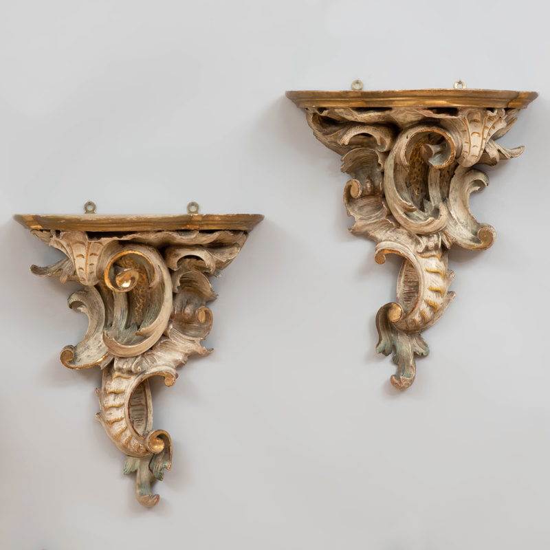 Pair of Louis XV Style Carved, Painted and Parcel-Gilt Wall Brackets