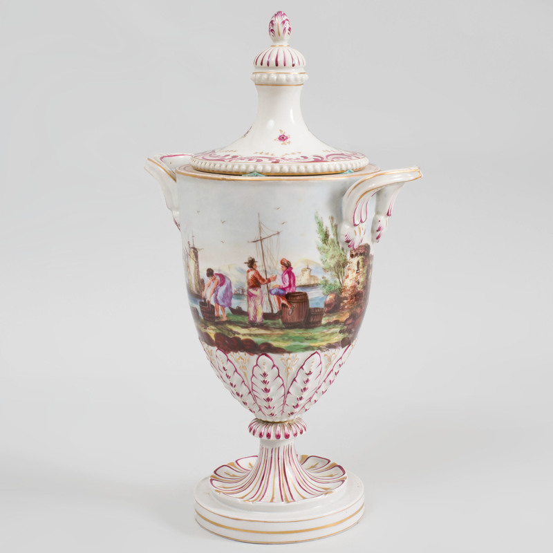 Continental Porcelain Two Handled Vase and Cover with Waterside Scene