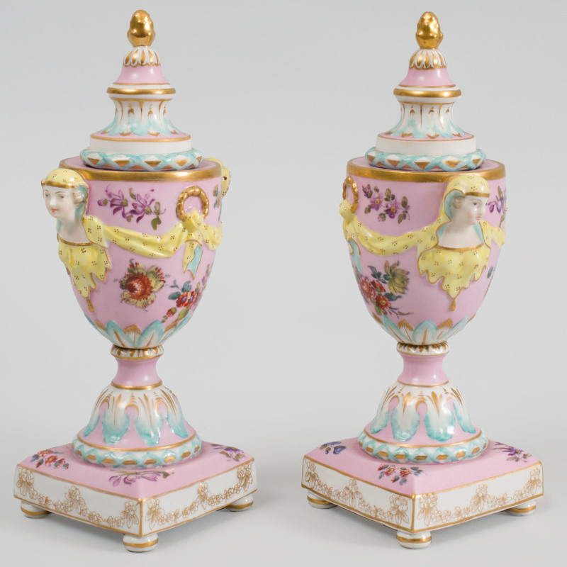 Pair of Berlin Pink Ground Porcelain Cassolettes and Covers