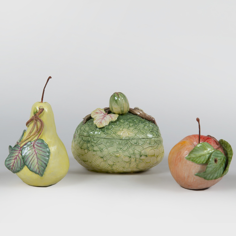 Vladimir Porcelain Box and Cover and Two Lady Anne Gordon Porcelain Models of Fruit