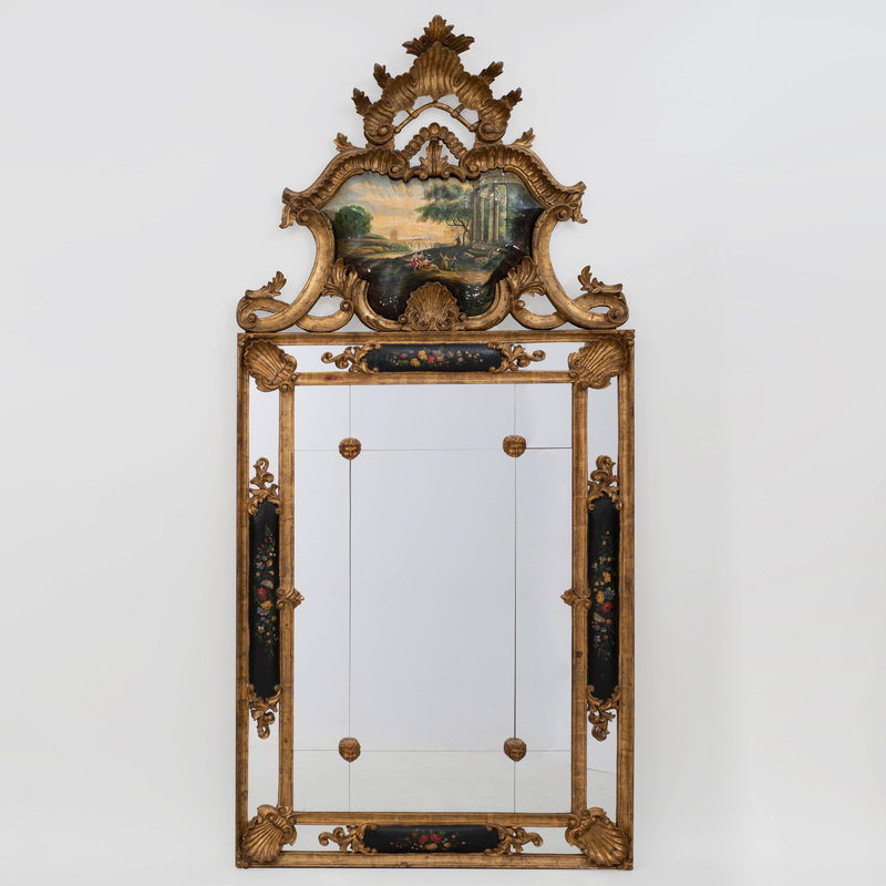 Venetian Rococo Style Painted and Giltwood Mirror