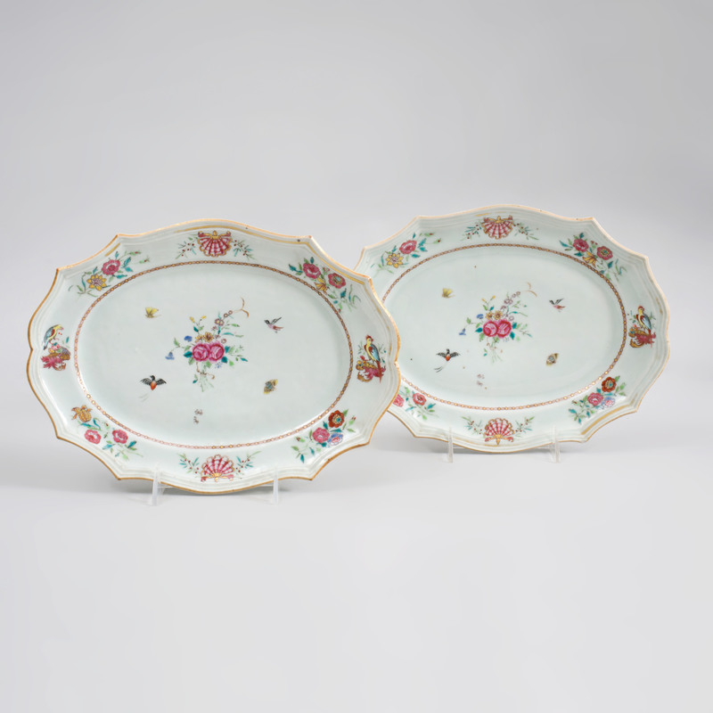 Pair of Chinese Export Porcelain Famille Rose Small Platters