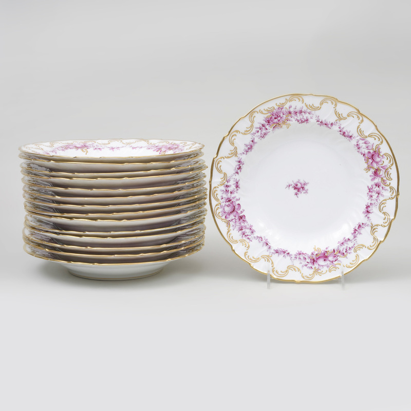 Set of Fifteen Continental Porcelain Puce Transfer Printed and Gilt-Decorated Soup Plates