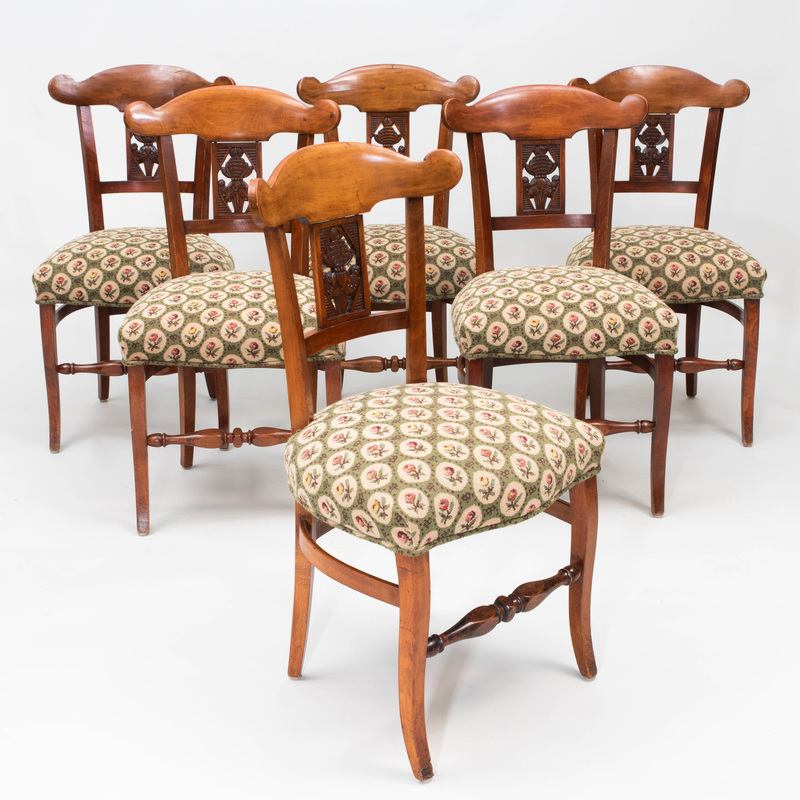Set of Six Biedermeier Style Stained Fruitwood and Needlework Dining Chairs