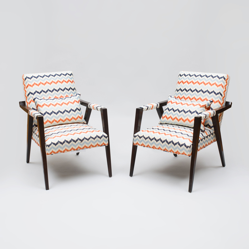 Pair of Micheal Berman Stained Wood 'Tempest' Chairs, for Kravet