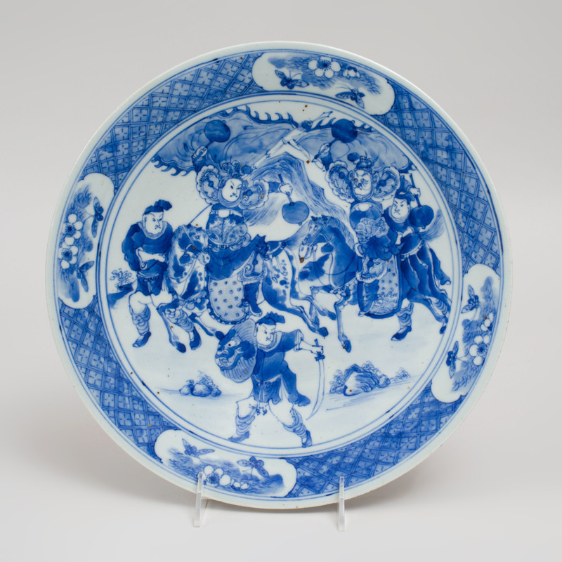 Chinese Blue and White Porcelain Dish Decorated with Battle Scene