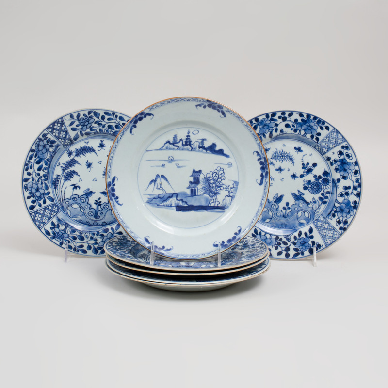 Set of Six Chinese Blue and White Glazed Porcelain Plates and a Single Plate