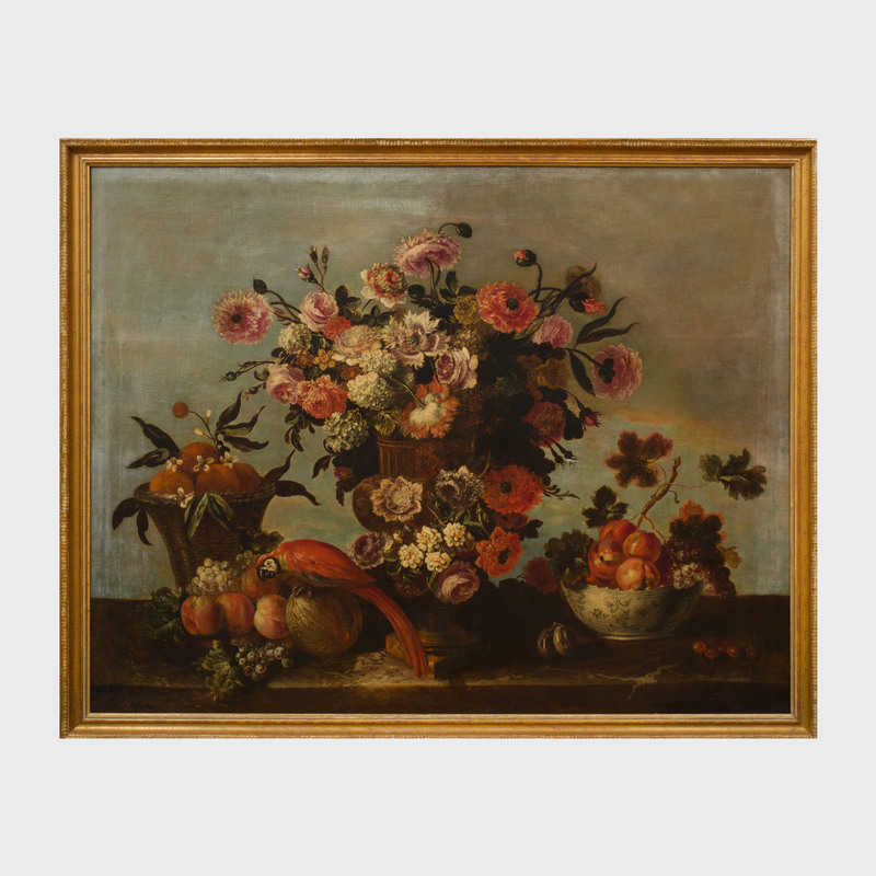 Jean-Baptiste Monnoyer (1636-1699): Roses, Hydrangeas, Peonies and Other Flowers in a Krater Vase with a Basket of Oranges, a Bowl of Peaches and Grapes, Other Fruit and a Scarlet Macaw on a Stone Ledge