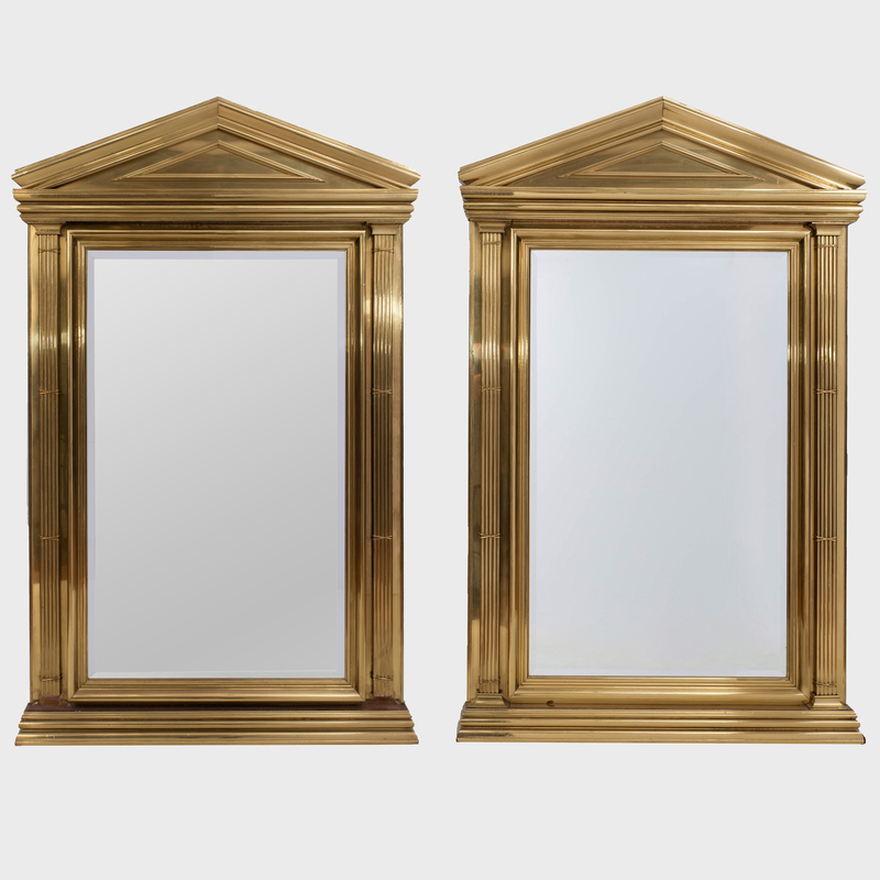 Pair of Classical Style Brass Clad Mirrors