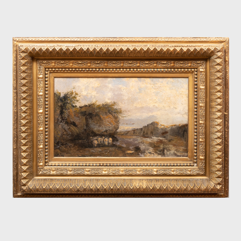 European School: Sheep in a Rocky Landscape