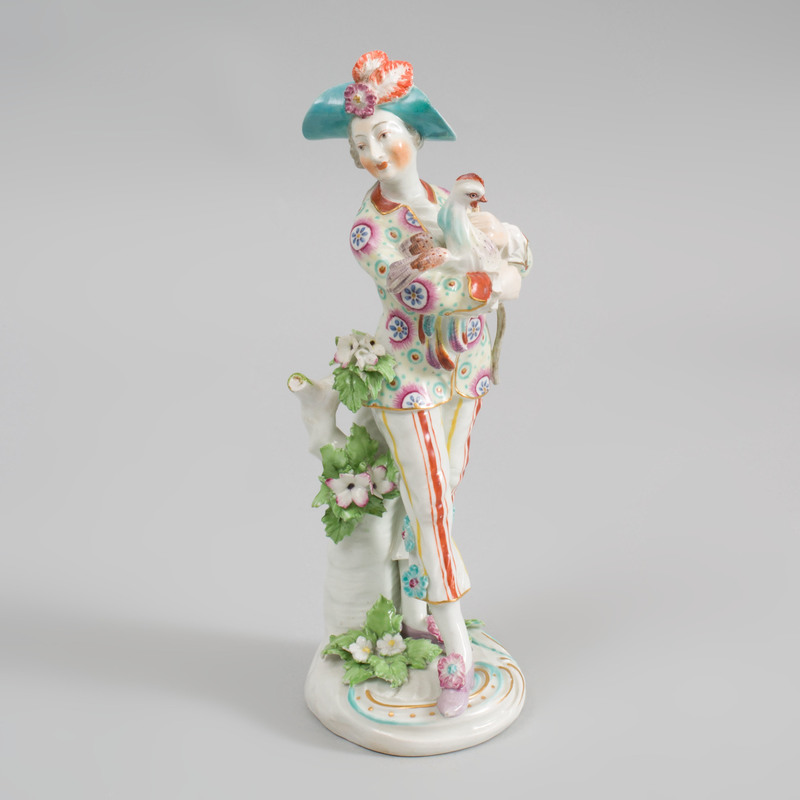 Derby Porcelain Figure of the Italian Farmer Holding a Cockerel