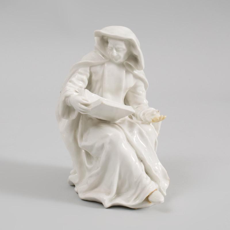 Bow White Glazed Porcelain Figure of a Nun Reading