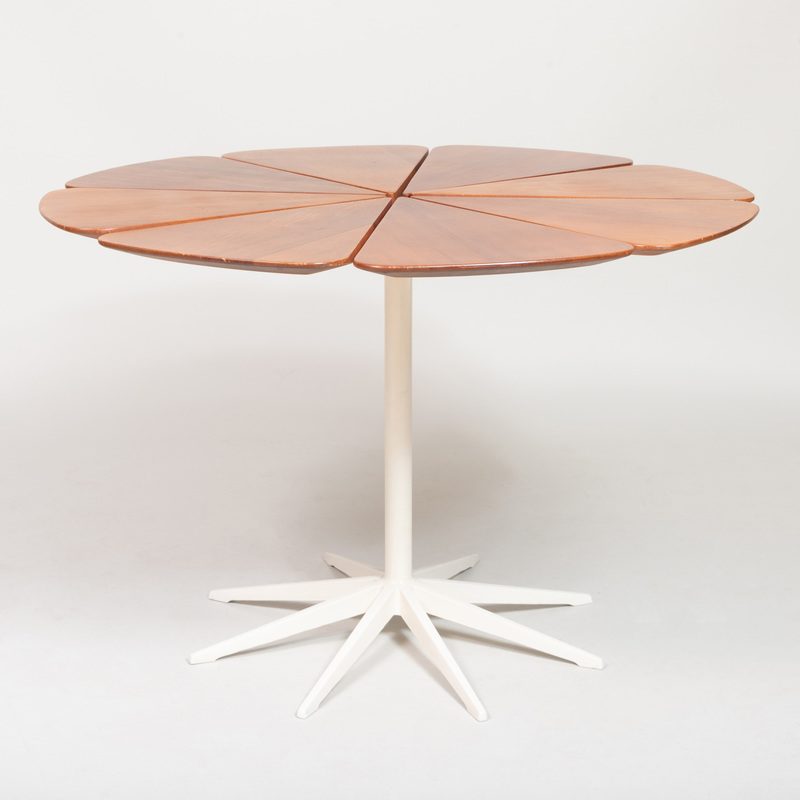 Richard Schultz Stained Wood and Enameled Metal Petal Dining Table, For Knoll