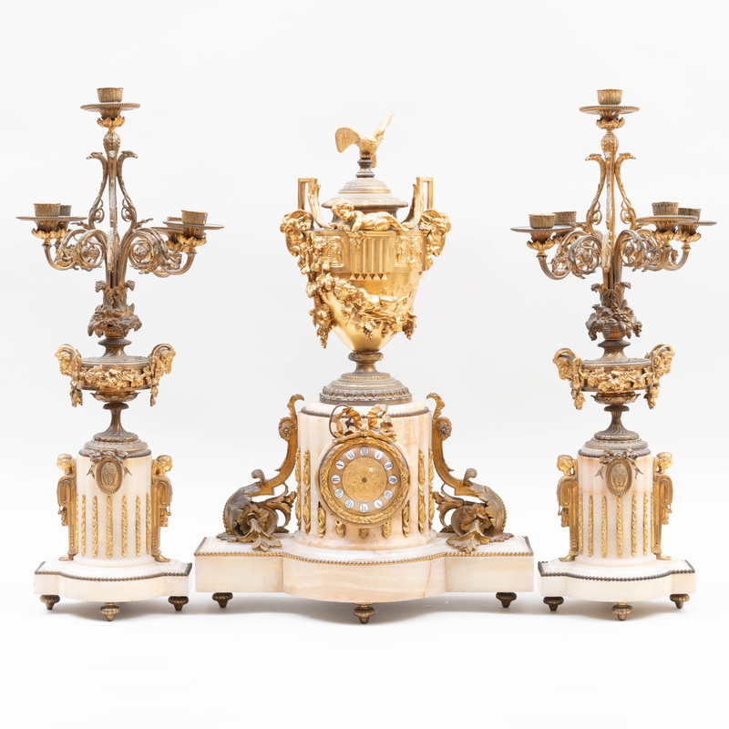 Louis XVI Style Ormolu-Mounted Onyx Three Piece Garniture