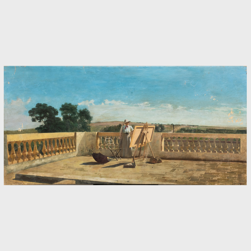European School: Painting on the Terrasse