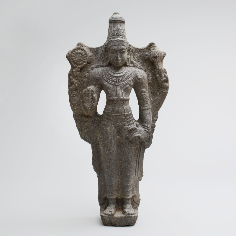 Fine Indian Grey Granite Figure of Vishnu