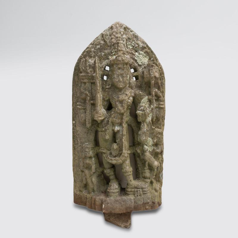 South India Carved Chloritic Schist Figure of Durga, Karnataka