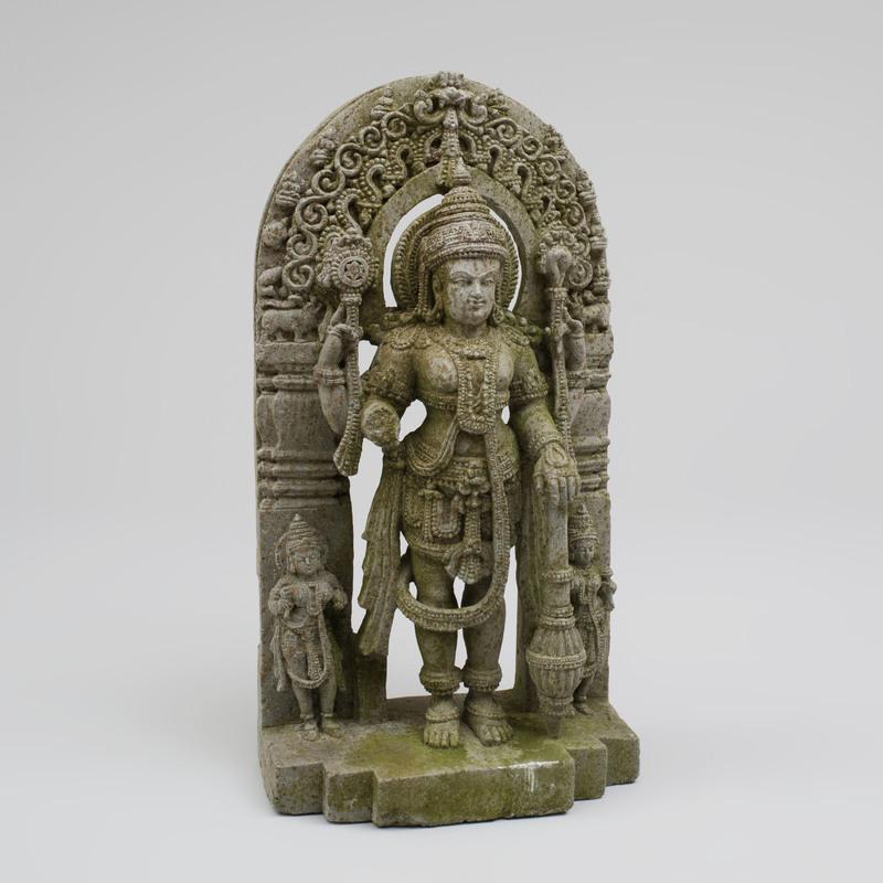 South India Chloritic Schist Model of Vishnu and Consorts, Karnataka, Hoysala Dynasty Style