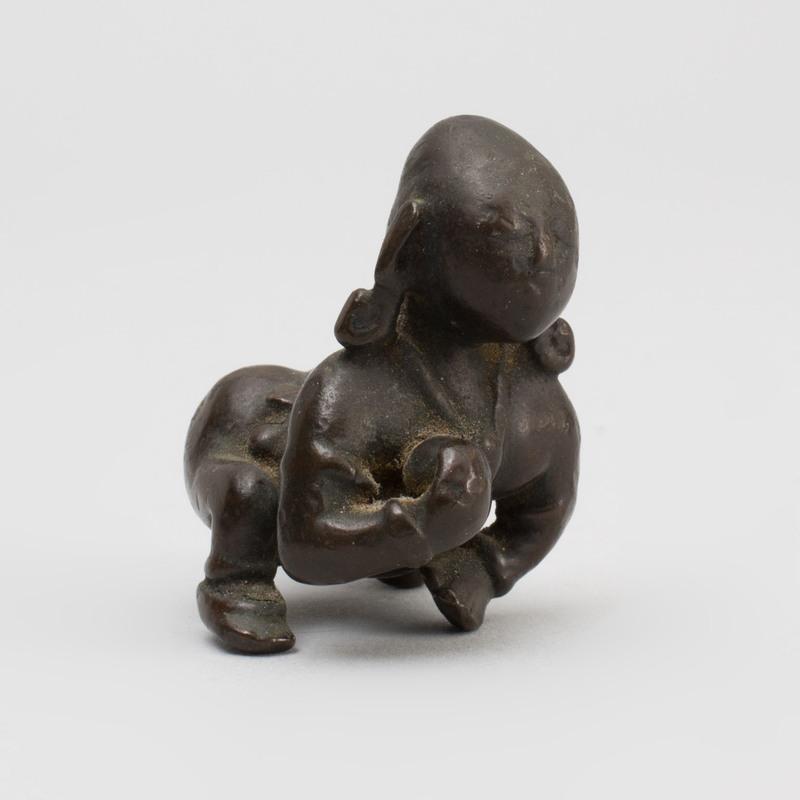 Indian Bronze Figure of a Crawling Krishna