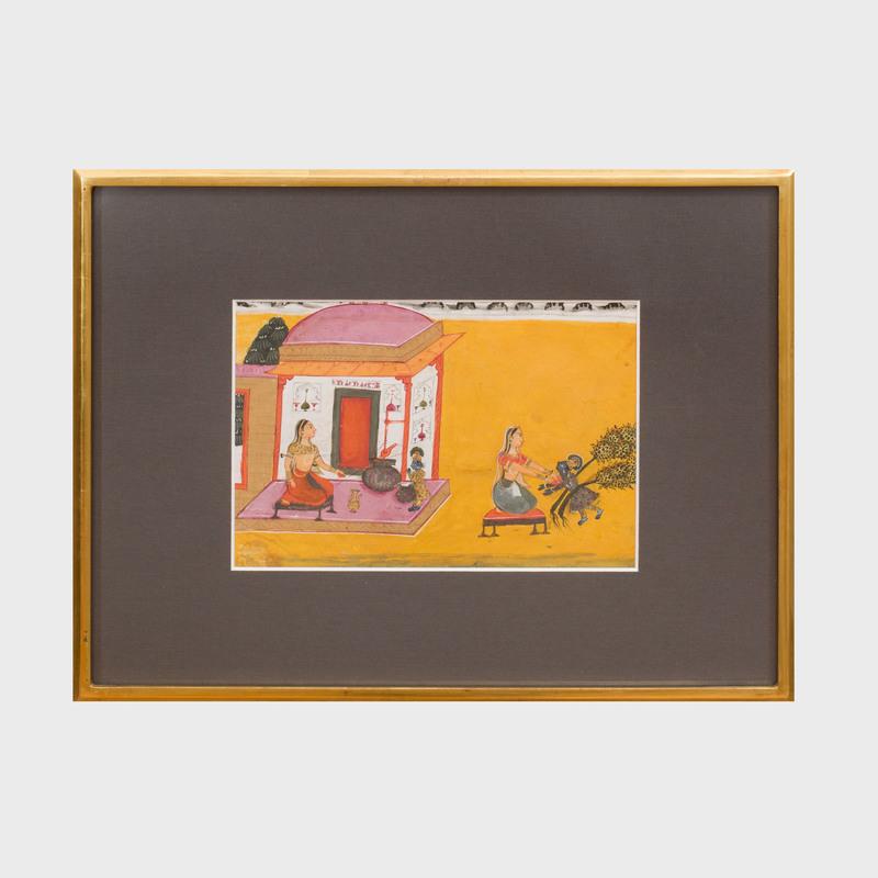 Bikaner School:  Krishna and Yashoda Illustration from a Bhagavata Purana Series, Rajasthan