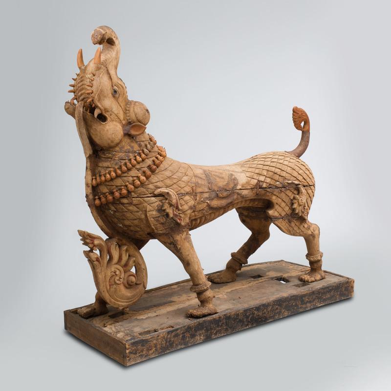 Indian Carved Hardwood Model of a Mythological Animal