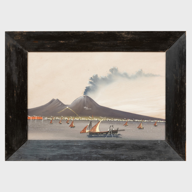 Neapolitan School: Two Views of The Bay of Naples, Day and Night