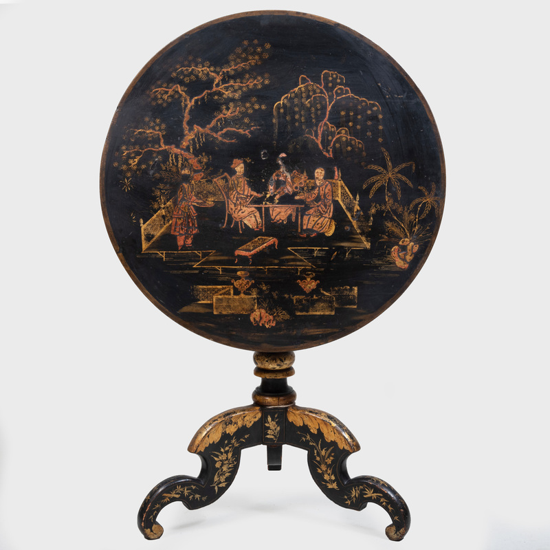 Continental Japanned and Parcel-Gilt Tilt Top Table