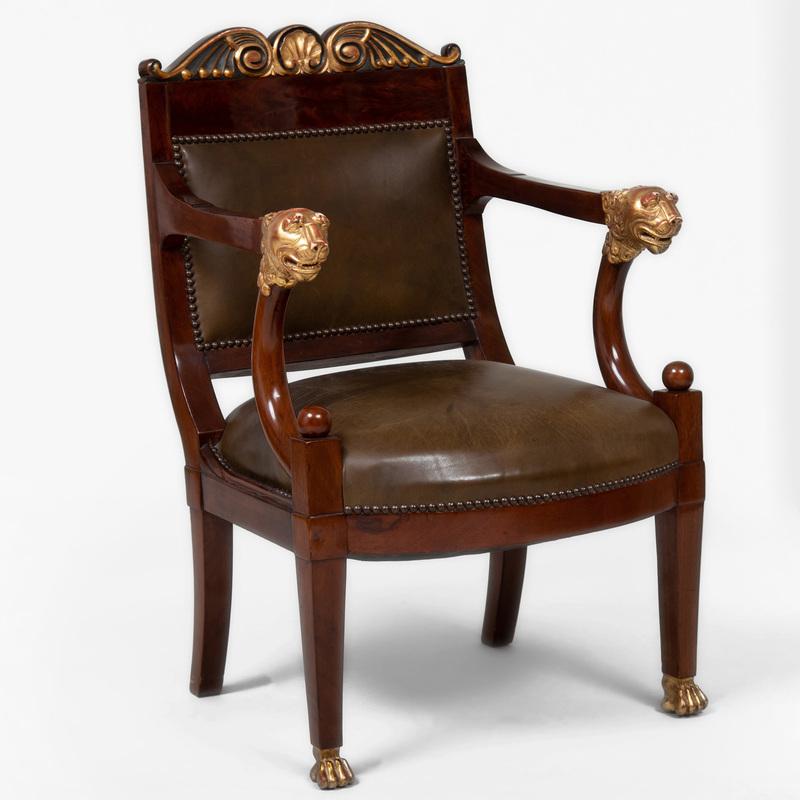 Empire Style Mahogany and Parcel-Gilt Armchair