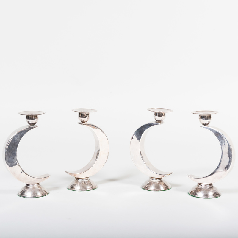 Set of Four Continental Silver Plate Candlesticks