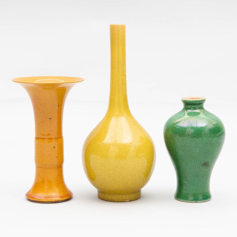 Three Small Chinese Monochrome Glazed Porcelain Vases